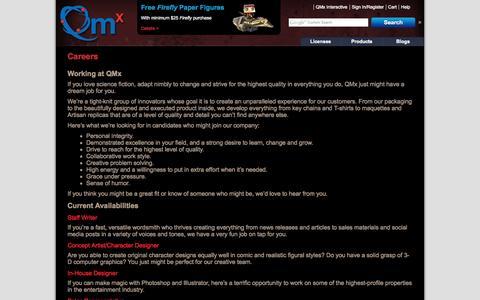 Screenshot of Jobs Page qmxonline.com - Careers «  QMx Online - captured Sept. 19, 2014