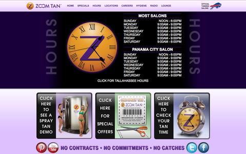 Screenshot of Hours Page zoomtan.com - Zoom Tan | Ithaca Tanning Salon | UV and Spray Tanning - captured Nov. 5, 2014
