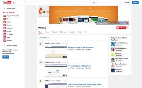 Screenshot of YouTube Page youtube.com - WPEka  - YouTube - captured Oct. 25, 2014