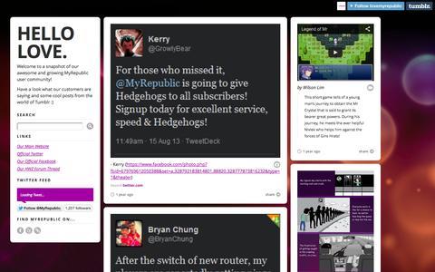 Screenshot of Testimonials Page myrepublic.com.sg - Hello Love. - captured Sept. 16, 2014