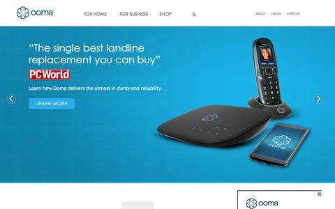 Screenshot of Home Page ooma.com - #1 Ranked Free Internet Phone Service | Ooma VoIP Phone - captured Oct. 1, 2015