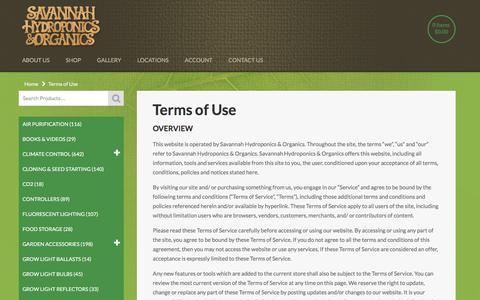 Screenshot of Terms Page savannahhydro.com - Terms of Use - Savannah Hydroponics & Organics - captured Nov. 19, 2016