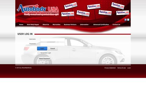 Screenshot of Login Page autobodyusa.biz - User Log In - captured July 27, 2016