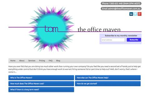 Screenshot of Home Page theofficemaven.com.au - The Office Maven - captured Oct. 9, 2014