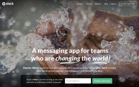 Screenshot of Home Page slack.com - Slack: Be less busy - captured Dec. 4, 2015