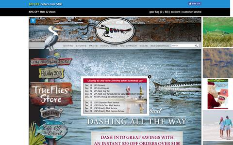 Screenshot of Home Page trueflies.com - Fly Fishing Shirts and Clothing | TrueFlies - captured Dec. 20, 2016