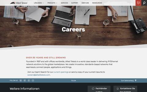 Screenshot of Jobs Page alliedtelesis.com - Careers | Allied Telesis - captured Oct. 30, 2019