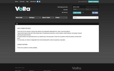 Screenshot of Jobs Page volta.ie - VOLTA - Video on Demand - Stream or Download Independent Irish and International Films Online - captured Oct. 7, 2014