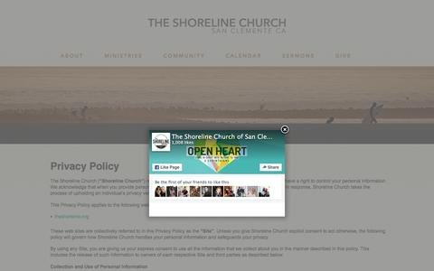 Screenshot of Privacy Page theshoreline.org - Privacy Policy | - The Shoreline Church of San Clemente - captured Feb. 15, 2016
