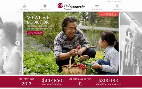 Screenshot of Home Page firstnonprofit.org - First Nonprofit Foundation – Helping Improve the Nonprofit Sector - captured Oct. 6, 2014
