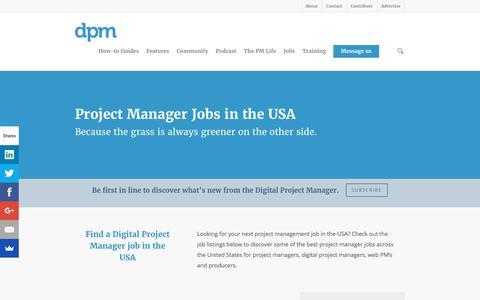 Screenshot of Jobs Page thedigitalprojectmanager.com - Project Manager Jobs USA - The Project Management Job Board - captured Oct. 5, 2017