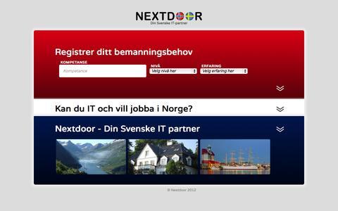 Screenshot of Home Page nextdoorit.no - Nextdoor - Svensk IT sourcing i Norge - captured Oct. 6, 2014