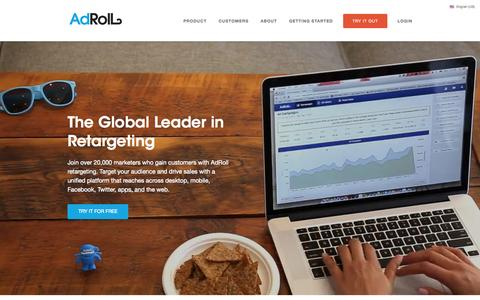 Screenshot of Home Page adroll.com - Retargeting and Performance Marketing Platform | AdRoll - captured May 13, 2015