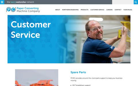Screenshot of Support Page pcmc.com - Customer Service  Paper Converting Machine Company - captured Sept. 26, 2018