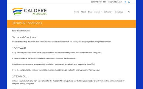 Screenshot of Terms Page caldere.com - Terms & Conditions - Caldere Associates - captured Oct. 15, 2016