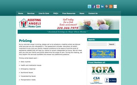 Screenshot of Pricing Page assistingangels.biz - Boise Home Care | - captured Nov. 21, 2016