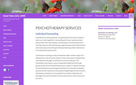 Screenshot of Services Page mindandbodytherapy.com - Psychotherapy Services | Sareet Taylor, Ed.S., LMHC - captured Oct. 3, 2014