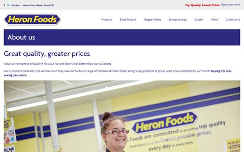 Screenshot of About Page heronfoods.com - About us - buying for less, saving you more - captured Nov. 5, 2018