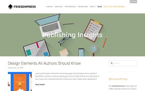 Screenshot of Blog friesenpress.com - Publishing Insights | FriesenPress - captured Sept. 29, 2017