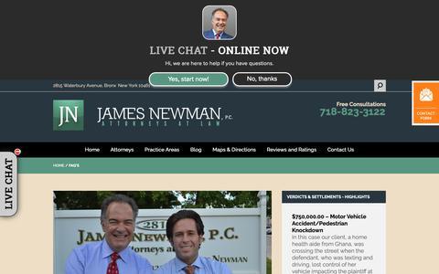 Screenshot of FAQ Page jamesnewmanlaw.com - Bronx Law Firm, James Newman P.C.   FAQ's - captured Oct. 13, 2018