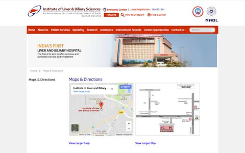Screenshot of Maps & Directions Page ilbs.in - ILBS Hospital Delhi   Best Hospital In Delhi   Liver Transplant Delhi   Kidney Transplant Delhi - captured June 24, 2017