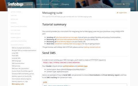 Messaging suite · SMS API | Infobip