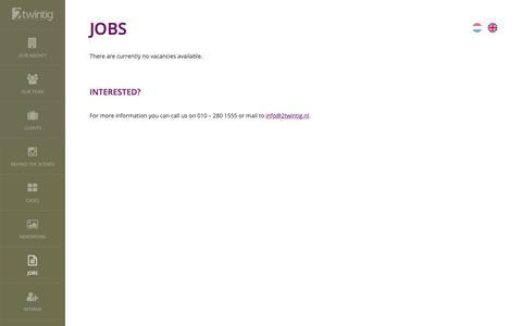 Screenshot of Jobs Page 2twintig.nl - Vacatures bij 2twintig - PR bureau in Rotterdam - captured Nov. 19, 2018