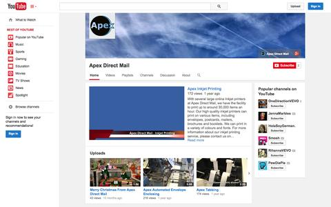 Screenshot of YouTube Page youtube.com - Apex Direct Mail  - YouTube - captured Oct. 26, 2014