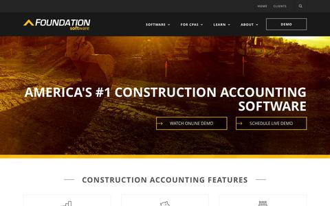 Screenshot of Home Page foundationsoft.com - FOUNDATION Construction Accounting Software - captured Nov. 5, 2015