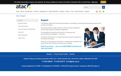 Screenshot of Support Page atac.org.uk - Support services from Asbestos Testing and Consultancy Association - ATaC - captured Nov. 19, 2016