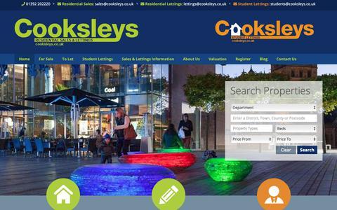Screenshot of Home Page cooksleys.co.uk - Cooksleys | Estate Agents in Exeter, Devon - Cooksleys - captured Nov. 5, 2018