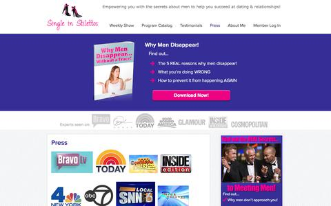 Screenshot of Press Page singleinstilettos.com - Dating Advice Women Event – Press   Single in Stilettos - captured July 27, 2018