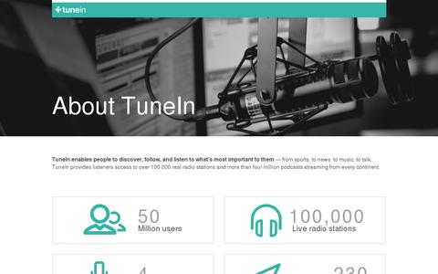 Screenshot of About Page tunein.com - TuneIn Radio - captured July 20, 2014