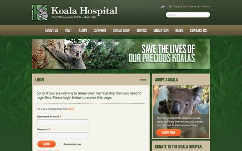 Screenshot of Login Page koalahospital.org.au - Login - Koala Hospital - captured Dec. 20, 2018