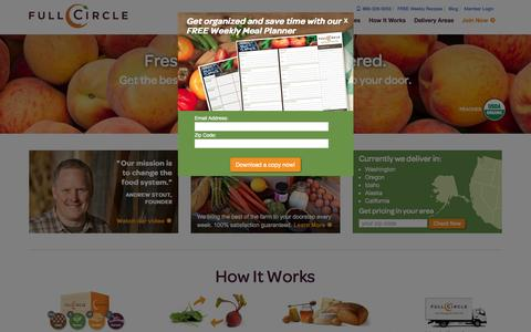Screenshot of Home Page fullcircle.com - Organic local produce delivery -  Full Circle - captured Oct. 1, 2015