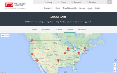 Screenshot of Locations Page ecgmc.com - Locations - ECG Management Consultants - captured Jan. 24, 2016