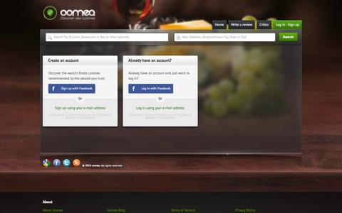 Screenshot of Login Page oomea.com - Bay Area Restaurants | Oomea - captured Oct. 9, 2014