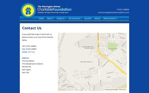 Screenshot of Contact Page wolvesfoundation.com - Contact our Charity | Support Wolves Foundation | Warrington - captured Nov. 3, 2014