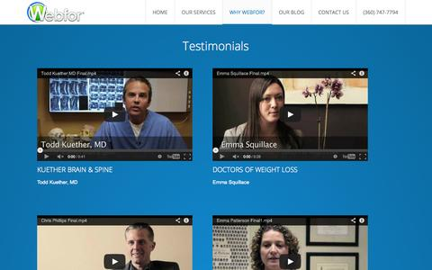 Screenshot of Testimonials Page webfor.com - Testimonials • Webfor® - captured Oct. 26, 2014