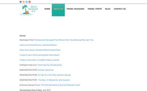 Screenshot of Press Page solotrekker4u.com - Solo Trekker 4 U In The News | Solo Trekker - captured Jan. 12, 2016