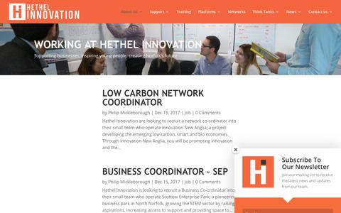 Screenshot of Jobs Page hethelinnovation.com - Jobs | Hethel Innovation - captured July 19, 2018