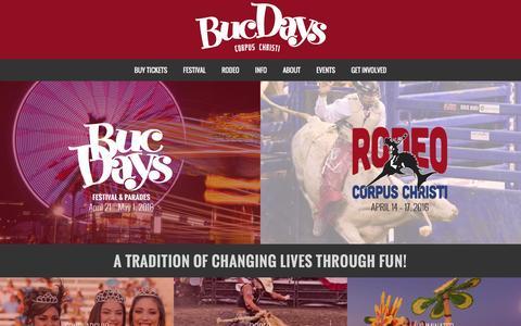 Screenshot of Home Page bucdays.com - Buc Days - captured Feb. 8, 2016