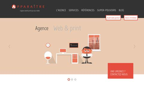 Screenshot of Home Page apparaitre.fr captured Nov. 12, 2015
