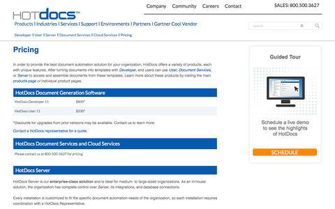 Screenshot of Pricing Page hotdocs.com - Pricing | HotDocs | Document Generation - captured Oct. 10, 2014
