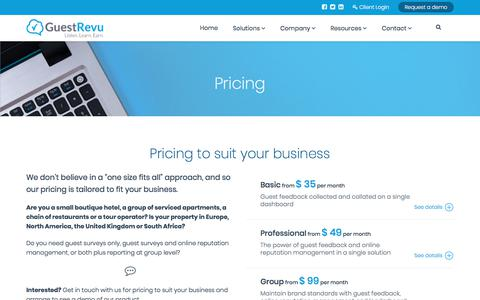 Screenshot of Pricing Page guestrevu.com - Pricing - captured July 25, 2018