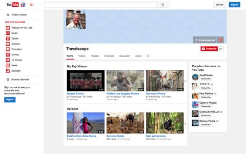 Screenshot of YouTube Page youtube.com - Travelscope  - YouTube - captured Nov. 5, 2014