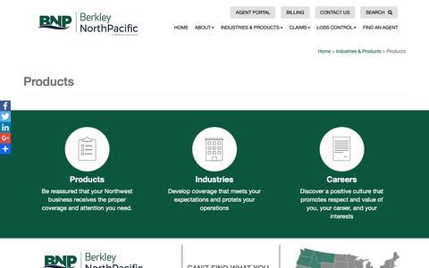 Screenshot of Products Page berkleynpac.com - Products - Berkley North Pacific - captured Oct. 5, 2018