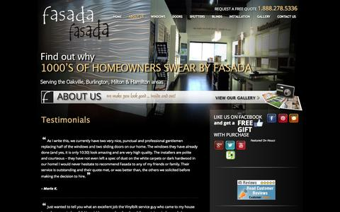 Screenshot of Testimonials Page fasada.ca - Testimonials - captured Oct. 5, 2014