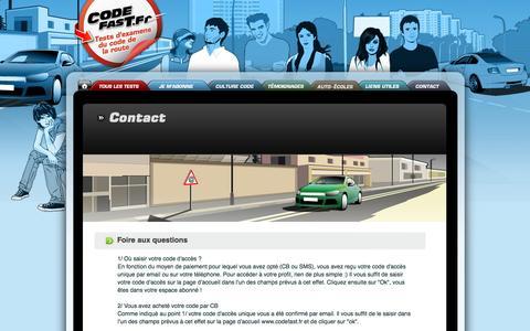 Screenshot of FAQ Page codefast.fr - CODEFAST - tests Code de la route en ligne 2014 ! Contact - captured Oct. 6, 2014