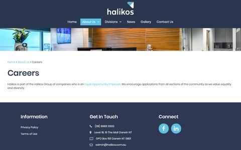 Screenshot of Jobs Page halikos.com.au - Careers - captured Sept. 26, 2018